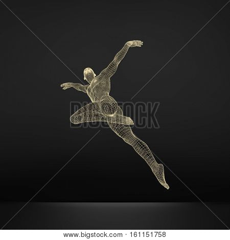 Gymnast. 3D Model of Man. Human Body Model. Gymnastics Activities for Icon Health and Fitness Community.