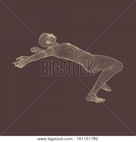 3d Man Slipping and Falling. Silhouette of a Man Fallen Down. 3D Model of Man. Human Body Model. Vector Illustration.