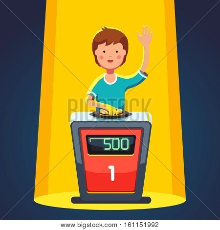 School kid playing quiz game answering question standing at the stand with button. Boy pressed the buzzer first and raised hand up in the light of spotlight. Colorful flat cartoon vector illustration