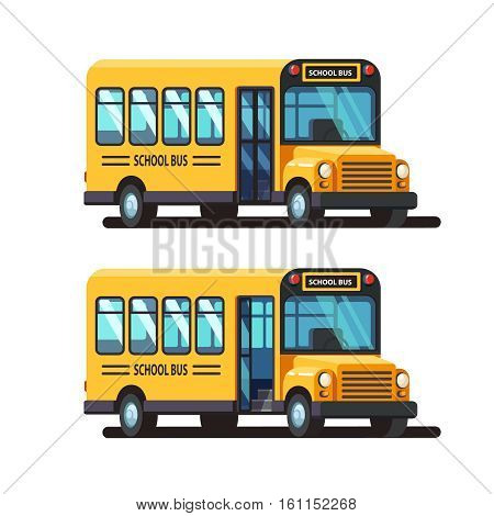 Yellow school bus 3d side view with closed and opened doors. Colorful flat style vector illustration isolated on white background.