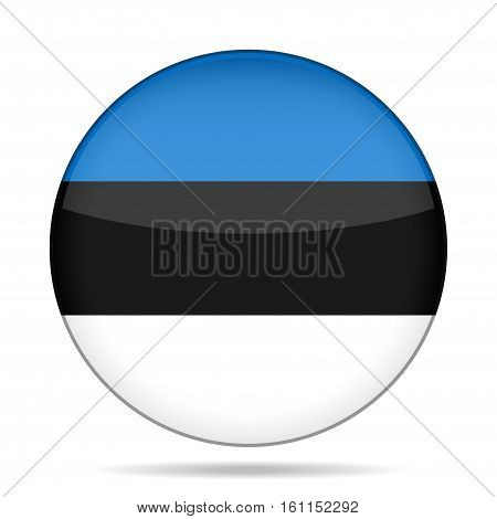 National flag of Estonia. Shiny round button with shadow.