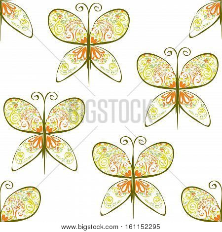 Butterfly Sihouette Illustration Of Seamless Pattern With Abstract Flowers