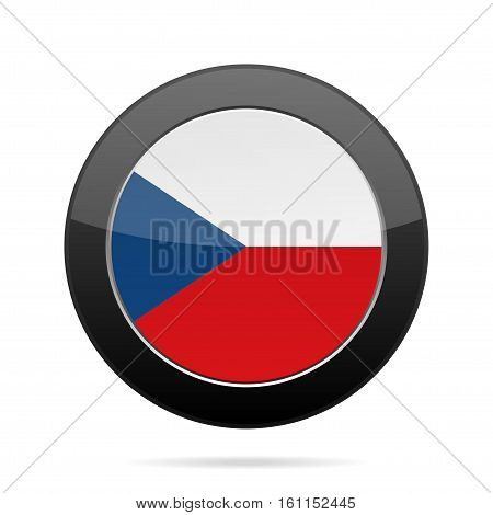 National flag of the Czech Republic. Shiny black round button with shadow.
