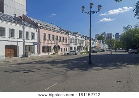 MOSCOW, RUSSIA - JULY 31 2016: Quiet summer morning on the old city street. Shkolnaya street Moscow Russia.