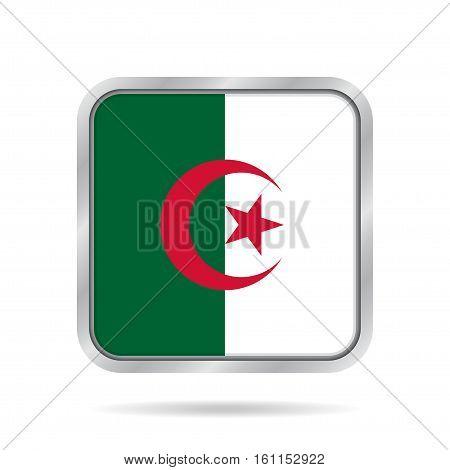 National flag of Algeria. Shiny metallic gray square button with shadow.