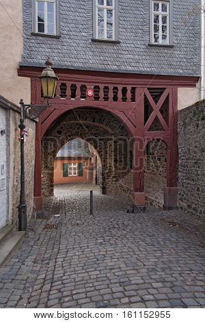 Old former city gate in Frankfurt Hoechst