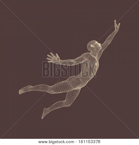 3D Model of Man. Personal and Career Growth. Start Up Business Concept. Beginning of Business Ideas. Global Success. Human Body Model. Vector Illustration.