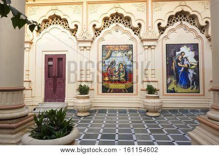 ISKCON Krishna Balarama temple in Vrindavan. India, Vrindavan,  November 2016