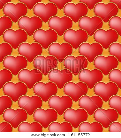 valentines background with seamless pattern - vector illustration