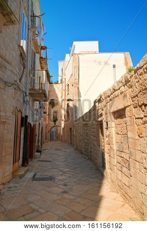 Perspective of an alleyway of Molfetta. Puglia. Italy.