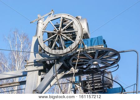 The ropeway engine against the background of the sky