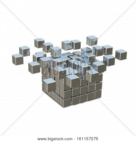 3D Illustration Collapsible and Destruction Metal Cube