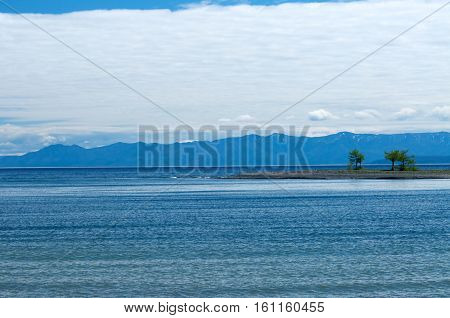 Lake Baikal view clouds mountain, Russia, Siberia