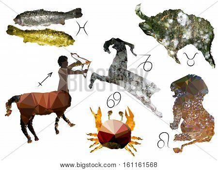 Zodiac signs of polygons. Six planetary symbols