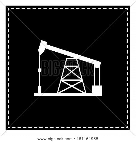 Oil Drilling Rig Sign. Black Patch On White Background. Isolated