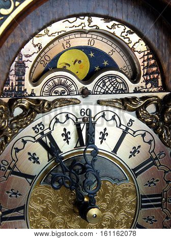 Lunar Calendar with Moon phases above the dial of mantel clock