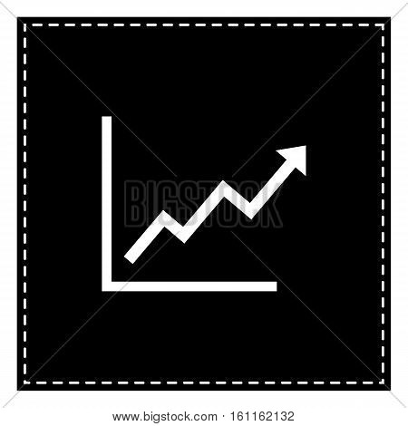 Growing Bars Graphic Sign. Black Patch On White Background. Isol