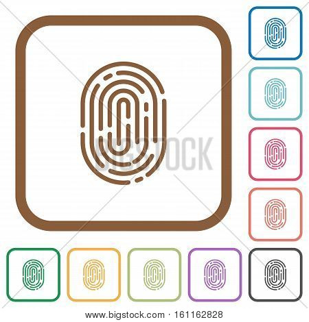 Fingerprint simple icons in color rounded square frames on white background