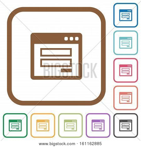 Login window simple icons in color rounded square frames on white background
