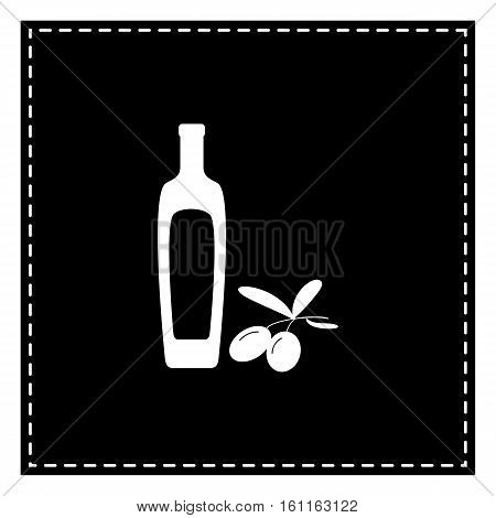 Black Olives Branch With Olive Oil Bottle Sign. Black Patch On W