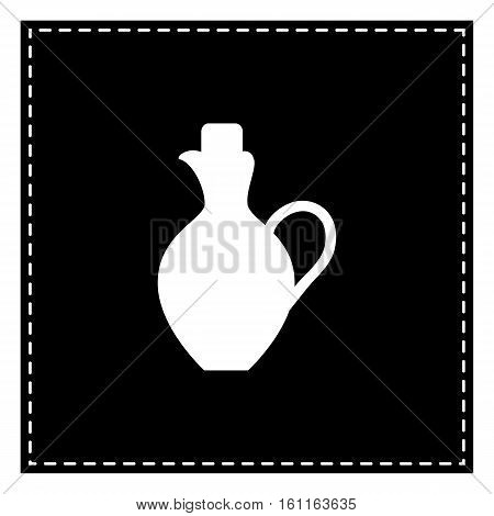 Amphora Sign Illustration. Black Patch On White Background. Isol