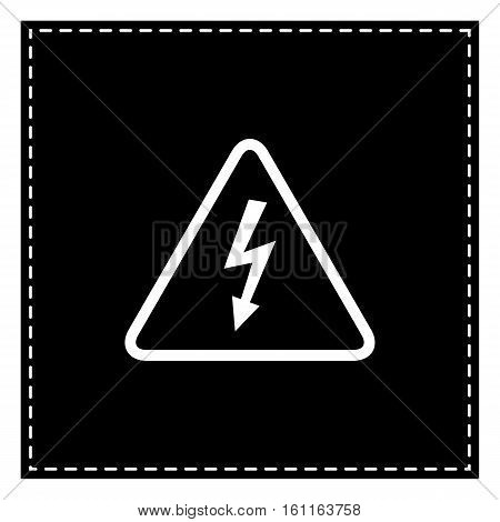 High Voltage Danger Sign. Black Patch On White Background. Isola