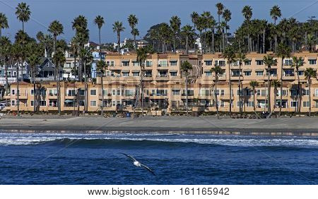 View from the pier on homes in Oceanside,California