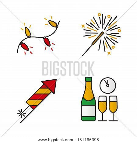 Christmas color icons set. New Year's Eve. Christmas tree garland, rocket firework, sparkler, champagne bottle and glasses. Isolated vector illustrations