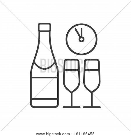 New Year's Eve party linear icon. Thin line illustration. Champagne bottle and glasses, clock contour symbol. Vector isolated outline drawing