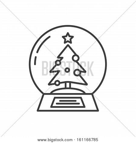 Snow globe linear icon. Thin line illustration. Water globe with Christmas tree inside. Contour symbol. Vector isolated outline drawing