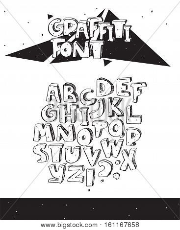 Vector hand drawn illustration with black and white imperfect graffiti font isolated on white. 3d letters sequence from A to Z with ink hatch and dots