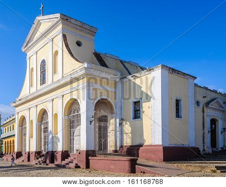 TRINIDAD, CUBA - MARCH 23, 2016: The main church in the UNESCO World Heritage old town in Trinidad Cuba