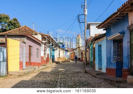 TRINIDAD, CUBA - MARCH 23, 2016: Colorful houses on the cobblestone streets in the UNESCO World Heritage city center of Trinidad Cuba