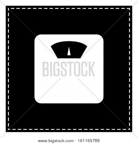 Bathroom Scale Sign. Black Patch On White Background. Isolated.