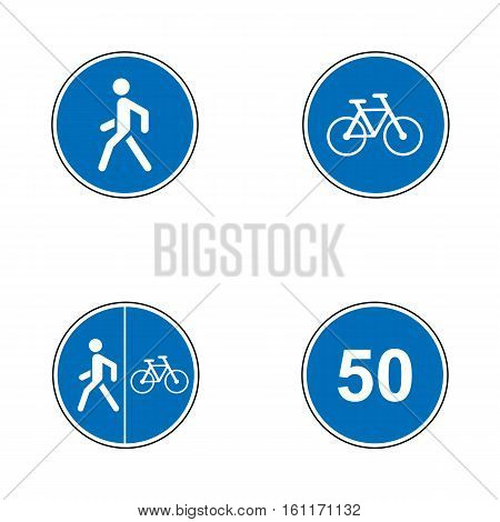 Set of road signs. Signboards. Collection of mandatory traffic signs. Vector illustration. Mandatory speed, bikes, pedestrian route
