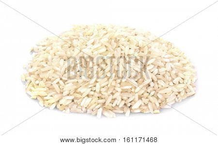 Pile of long grain rice on white background