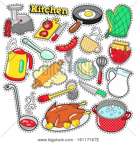 Kitchen Utensils and Cooking Scrapbook Stickers, Patches, Badges for Prints with Food, Pan and Teapot. Comic Style Vector Doodle