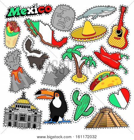 Mexico Travel Scrapbook Stickers, Patches, Badges for Prints with Sombrero, Burrito and Mexican Elements. Comic Style Vector Doodle