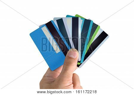 Fan of bank cards is in the hand