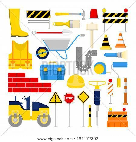 Road Construction Works Icons Set with Traffic Cone and Tools. Vector illustration