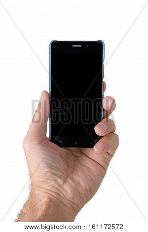 Man's hand holding a smartphone on a white background