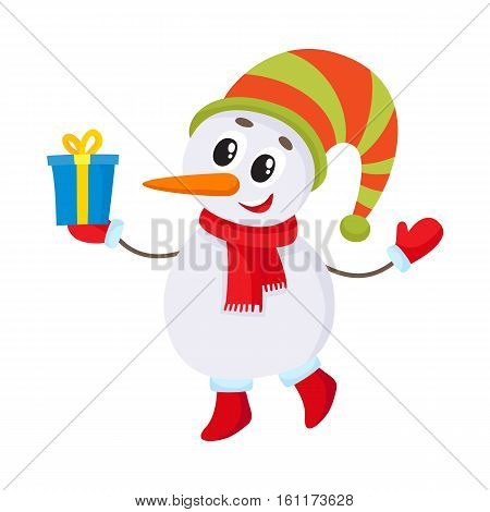 Cute and funny little snowman holding a Christmas gift, present, cartoon vector illustration isolated on white background. Funny snowman in hat and mittens with Xmas gift, holiday decoration element