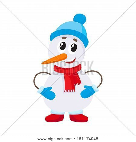 Cute and funny little snowman in hat and mittens, cartoon vector illustration isolated on white background. Funny snowman, Christmas holiday decoration element