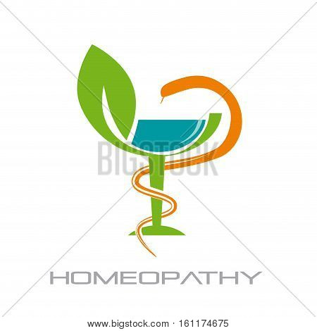 Vector sign homeopathy alternative medicine, isolated on white