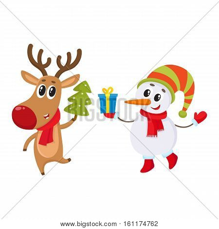 funny reindeer holding a Christmas tree and a snowman holding a gift box, cartoon vector illustration isolated on white background. Deer and snowman, Christmas attributes, decoration elements