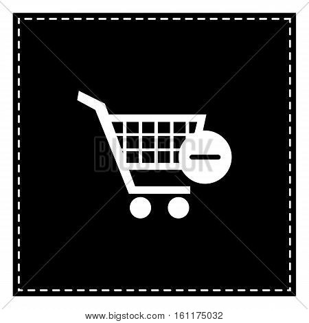 Vector Shopping Cart With Remove Sign. Black Patch On White Back