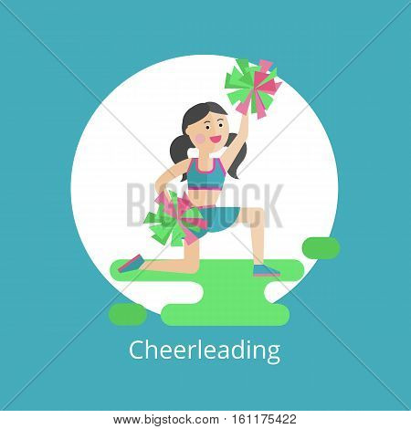 Vector icon. Girl - a cheerleader with pom-poms.