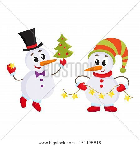 two snowmen holding a Christmas tree and an electric garland with lights, cartoon vector illustration isolated on white background. Funny snowman in hat, holiday season decoration element