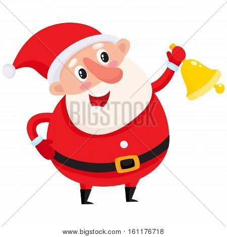 Cute and funny Santa Claus ringing golden Christmas bell, cartoon vector illustration isolated on white background. Santa Claus ringing a bell, Christmas attribute, holiday season decoration element