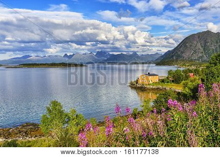 Lofoten islands landscape, Norway. Lofoten archipelago is known for a distinctive scenery with dramatic mountains and peaks, open sea and sheltered bays, beaches and untouched lands
